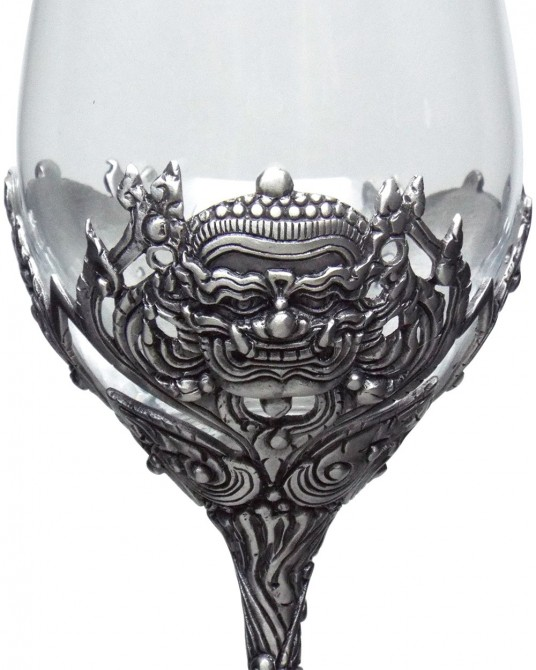 Pewter Crystal Wine Glass Thai art style YAK