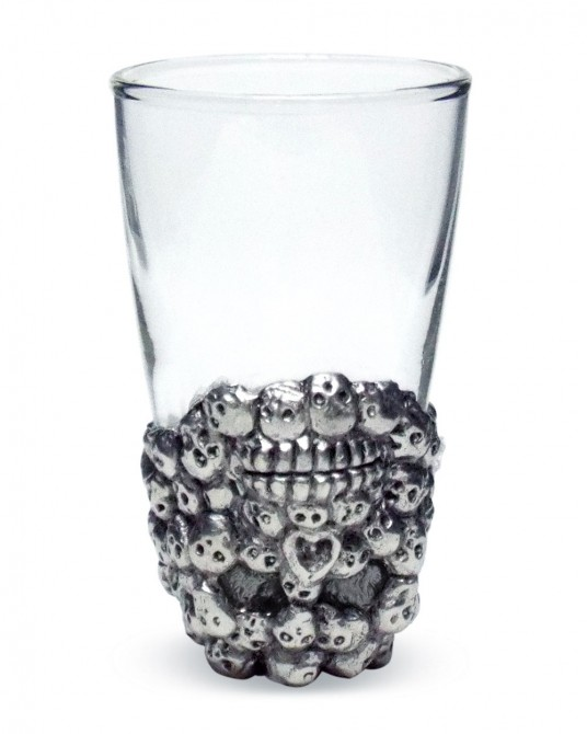 Pewter Wine Glass Skull carvings (1 set contains 3 Pcs.)
