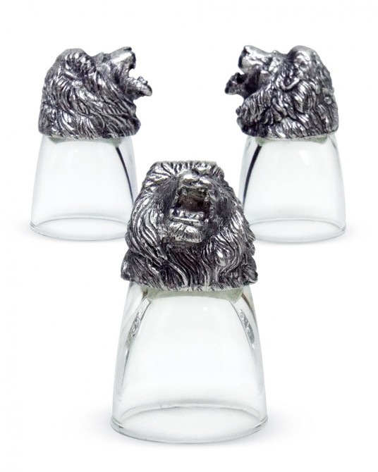 Pewter Shot Glass Lion Head carvings (1 set contains 3 Pcs.)