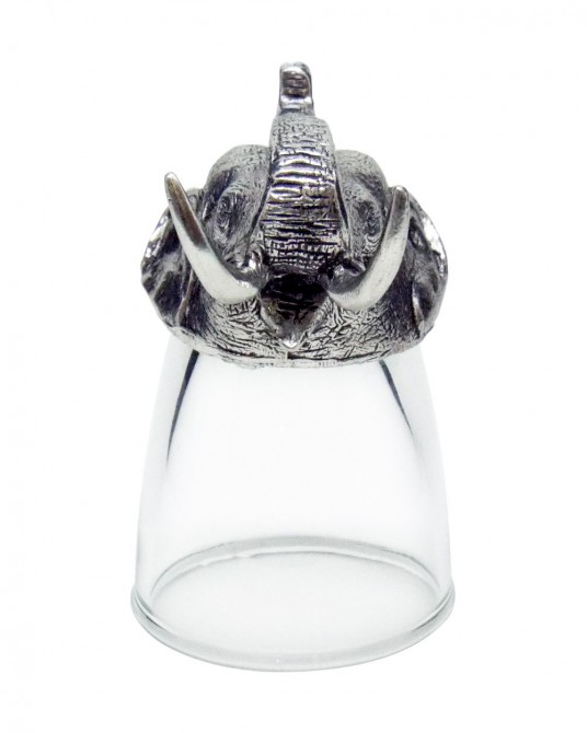 Pewter Shot Glass Elephant Head carvings (1 set contains 3 Pcs.)