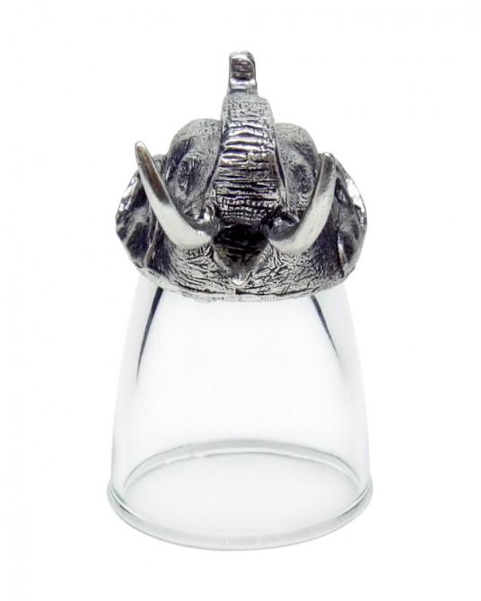 พิวเตอร์ แก้วช็อตแกะสลักลายหัวช้าง (1 ชุดประกอบด้วยแก้ว 3 ใบ)