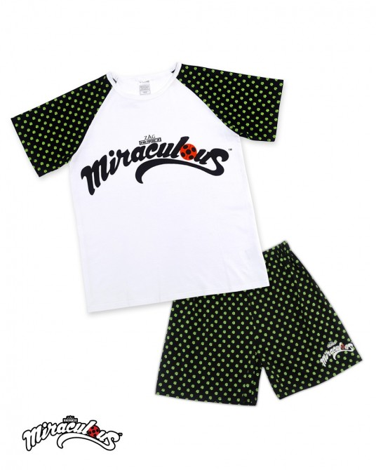 Top & Shorts Cartoon pattern (White Pokadots) - Miraculous Ladybug