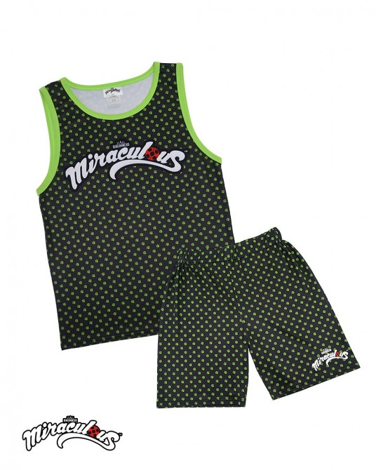 Children's Vest & Shorts Set  (Black) - Miraculous Ladybug