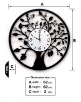 นาฬิกาติดผนัง ลายต้นไม้ผีเสื้อ
