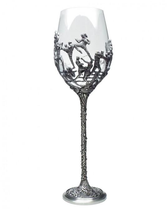 พิวเตอร์ แก้วไวน์คริสตัล ลายศิลปะมวยไทย