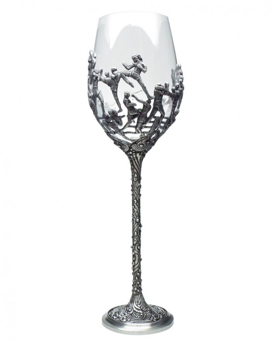 Pewter Crystal Wine Glass Thai Boxing Art